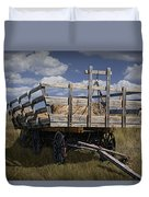 Old Hay Wagon In The Prairie Grass Duvet Cover