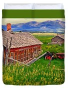 Old Homestead Near Townsend Montana Duvet Cover