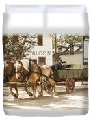 Old Horse Drawn Wagon At Fort Edmonton Park Duvet Cover
