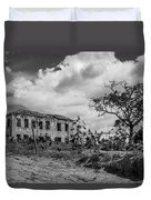 Old House And Cows - Bw Duvet Cover by Fabio Giannini
