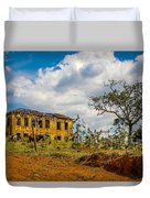 Old House And Cows Duvet Cover