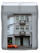Old House And Funky Orange Car Duvet Cover