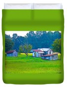 Old House And Harvest Time Duvet Cover