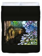 Old House And New Flowers Duvet Cover