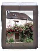 Old House Covered With Roses Duvet Cover