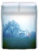Old House In Fog Duvet Cover