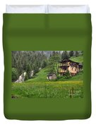 Old House On The Green Field Duvet Cover