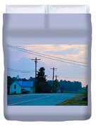 Old Houses And Sunset Duvet Cover