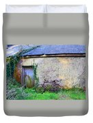 Old Irish Cottage With Bike By The Door Duvet Cover