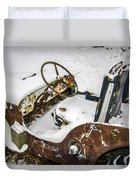 Old Jeep - New Snow Duvet Cover