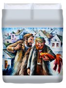 Old Jews And A Rooster  Duvet Cover