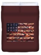 Old Keys On American Flag Duvet Cover