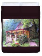 Old Log Cabin Home Duvet Cover