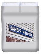 Old Lumberyard Sign Duvet Cover