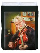 Old Man And Fiddle Duvet Cover