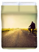 Old Man Riding A Bike To Sunny Sunset Sky Duvet Cover