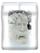 Old Man Winter Snow Sculpture Duvet Cover