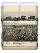 Old Map Of Decatur Texas 1890 Duvet Cover
