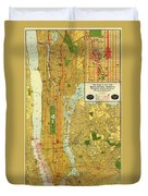 Old Map Of New York Central Railroad Manhattan Map 1918 Duvet Cover