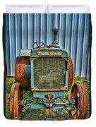 Old Metal Wheeled Tractor Hdr Duvet Cover