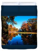 Old Mill House Pond In Autumn Fine Art Photograph Print With Vibrant Fall Colors Duvet Cover