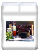 Old Miners Outdoor Kitchen Table Still Life Duvet Cover