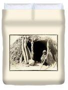 Old Navajo At His Hogan Duvet Cover