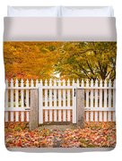 Old New England White Picket Fence Duvet Cover