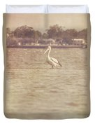 Old Pelican Photograph Duvet Cover