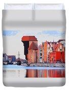 Old Port Crane In Gdansk Duvet Cover