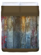Old Reclaimed Wood - Rustic Red Painted Wall  Duvet Cover