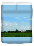 Old Red Barn And Fields Duvet Cover