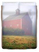 Old Red Barn In Fog Duvet Cover by Edward Fielding