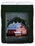 Old Red Barn On Slate Duvet Cover