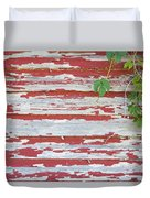 Old Red Barn With Peeling Paint And Vines Duvet Cover