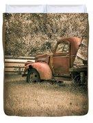 Old Red Farm Truck Duvet Cover