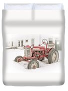 Old Red Tractor In The Snow Duvet Cover