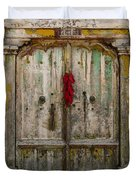 Old Ristra Door Duvet Cover by Kurt Van Wagner