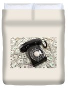 Old Rotary Phone On Money Background Duvet Cover
