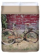 Old Rusty Bicycle With Basket Of Lavender Flowers Duvet Cover