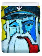 Old Sailor With Pipe Expressionist Portrait Duvet Cover