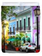 Old San Juan Street Duvet Cover