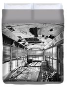 Old School Bus In Motion Bw Hdr Duvet Cover
