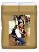 Old School Roller Derby Skater And His Number One Fan Duvet Cover