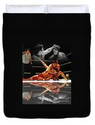 Old School Wrestling Headlock By Dean Ho On Don Muraco With Reflection Duvet Cover