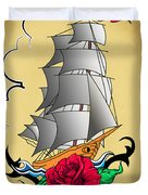 Old Ship Tattoo  Duvet Cover