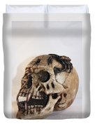 Old Skull With Scorpion On A White Background Duvet Cover