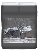 Old Snowy House Duvet Cover