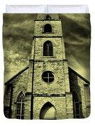 Old St. Mary's Church In Fredericksburg Texas In Sepia Duvet Cover