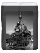 Old Steam Engine Black And White Duvet Cover